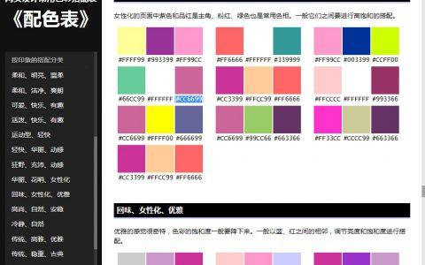 网页设计常用色彩搭配表《配色表》