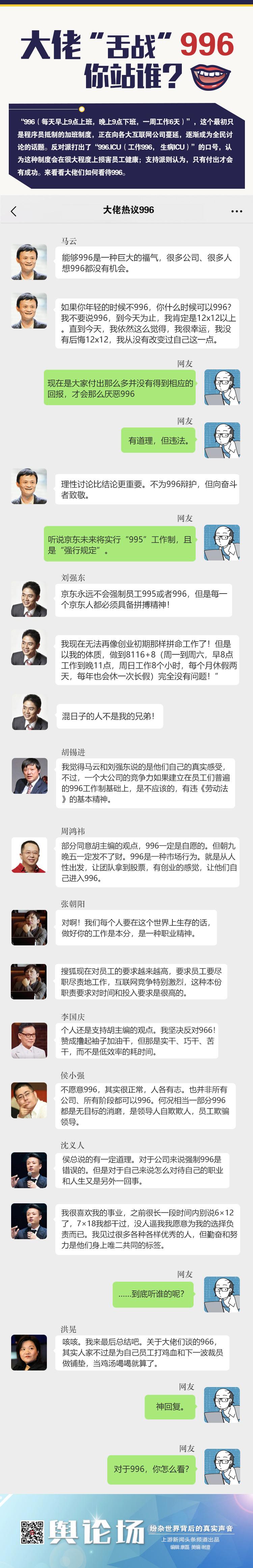 """马云、刘强东、周鸿祎、张朝阳……企业大佬谈""""996"""",看看老板们的想法"""